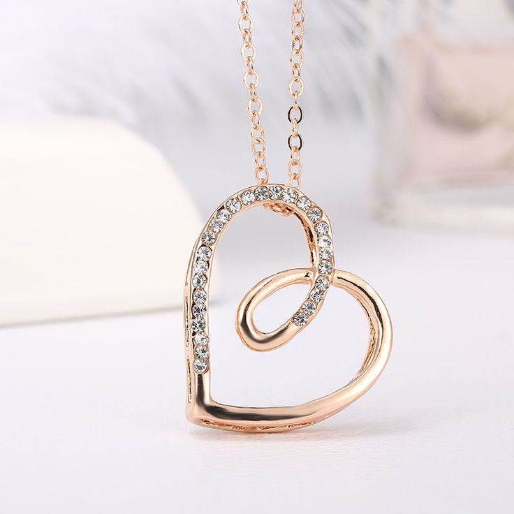 Necklaces pendants 1909 pinterest rnafashion 2017 necklace full of rhinestone love heart shape pendant necklaces fashion summer jewelry for women mozeypictures Gallery