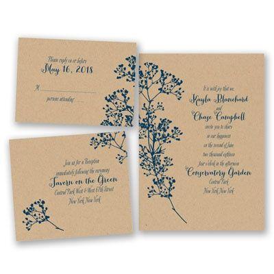 floral kraft bundle basic wedding invitation set inexpensive at invitations by davids bridal - Brides Wedding Invitation Kits