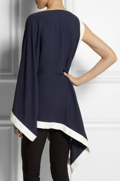 Navy jersey-crepe Hook-fastening shoulder, gold pyramid stud, kimono sleeve, side split, asymmetric hem, white silk-satin trims Concealed button and hook fastening at side Fabric1: 100% viscose; fabric2: 61% acetate, 35% viscose, 4% elastane; fabric3: 100% silk Dry clean Designer color: Ribes/ Off White