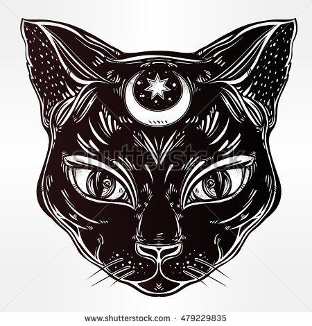 Black cat head portrait with moon. Ideal Halloween background, tattoo art, Egyptian, spirituality, boho design. Perfect for print, posters, t-shirts and textiles. Vector illustration.