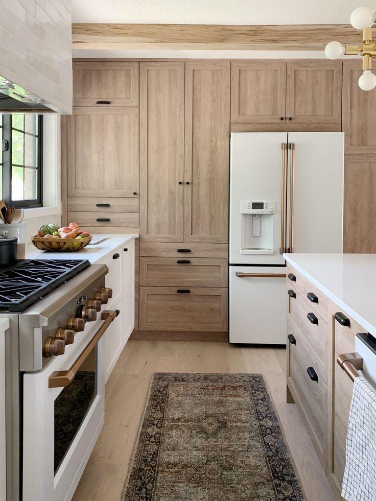 Download Wallpaper White Oak Kitchen Cabinet Design