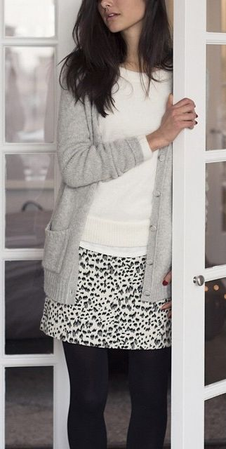 The LOFT Snow Leopard Shift Skirt is go to for work outfit inspiration.