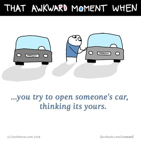 http://lastlemon.com/emmil/em043/ That awkward moment when you try to open someone's car, thinking its yours.