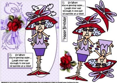 CUP569280_1209 - a decoupage sheet featuring Stella who is sending greetings for her red hatter friends birthday her comment being.... So ...