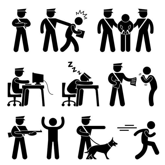 Security Guard Police Officer Policeman Cop Nab Arrest Catch Etsy Security Guard Stick Figures Pictogram