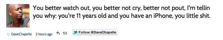 Dave Chappelle's tweet on Christmas
