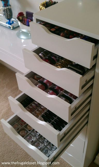 The Frugal Closet: The IKEA Alex Storage Makeup organization and storage - No instructions, but great inspiration.