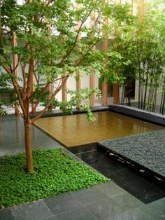 This minimal 'zen' garden works really well. The geometry and shapes of this garden clearly break the garden up, The large gold square could be a lawn, a large japanese maple for a focal point.