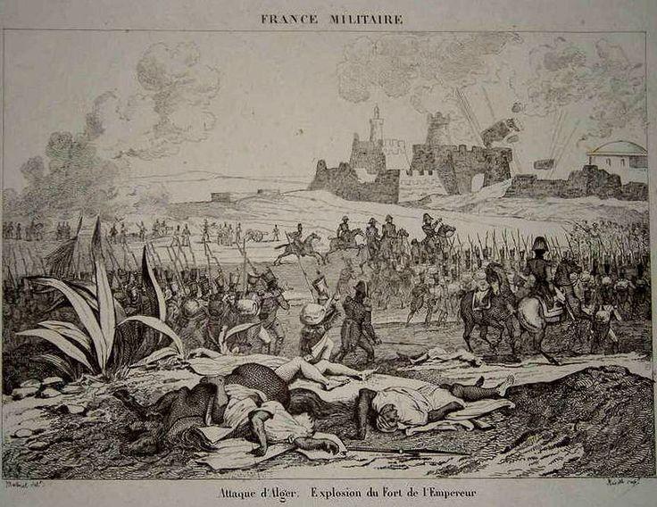 """106- Gravure ancienne, extraite de France militaire: """"Attaque d'Alger. Explosion du Fort de l'Empereur"""" Juillet 1830. Dessin Martinet/ Gravure Reville, XIX°s. - § ALGERIE: ... alors en poste à Marseille, qui est chargé de """"pacifier"""" la région de Sétif et la Kabylie. En 1843, ils remportent une grande victoire. Il combattit Ahmed Bey - ou Hadj Ahmed bey (1784-1850), dernier bey de Constantine, et l'une des grandes figures de la résistance au colonialisme, qui avait dû s'enfuir après la prise…"""