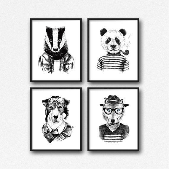 SOFORT-DOWNLOAD! Hipster Tier Dachs Panda Welpe Hund Wolf Hand Drawn Illustration Home minimalistischen Wand-Dekor print  ===  Drucken Sie dieses moderne Wand-Kunstwerk von Ihrem Computer zu Hause oder lokalen Druckerei Stil und dekorieren Sie Ihr Haus oder Büro!  Druck enthält: 4 JPG-Dateien  Ihre Bestellung umfasst vier JPG mit der gleichen Größe. Du bekommst jede einzelne Datei unten beschrieben! Mit diesen mehrere Dateien wird sichergestellt, dass Sie das Design in Ihrem He...