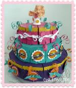 """Make a paper birthday cake.  You can fill each """"slice"""" with goodies for your guests to take home."""