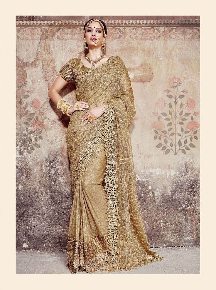 Pure golden designer saree with embroidered pallu, handwork, mirror work and moti work Gota blouse