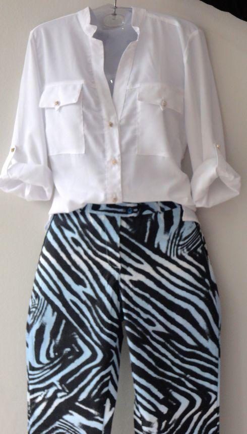 Camisa branca em chiffon  R$ e calça estampada R$
