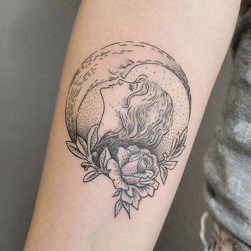 ay ve kadın dövmeleri moon and woman tattoos