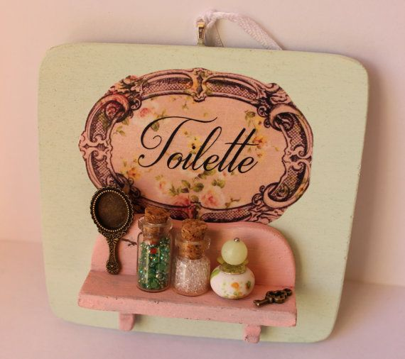 Shabby chic romantic vintage bathroom by ManthaCreaMiniatures