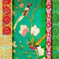 #254 Antique Fragment Patchwork Green Birds  - Anna Chandler