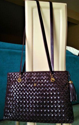 536e0d18d0 BALLY sac à main cuir agneau daim tressé brun luxe leather handbag ...