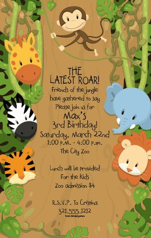 Jungle invitation for a 1st birthday party