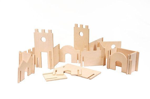 Wood Castle Building Blocks Playset // This Modular Natural Building Toy will…