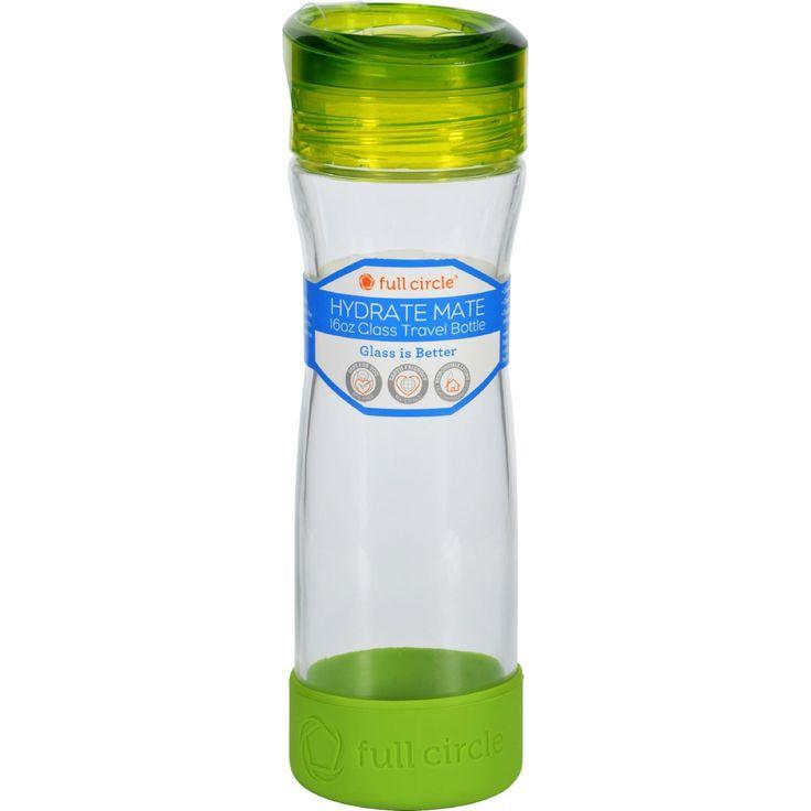 Full Circle Home Water Bottle - Travel - Glass - Hydrate Mate - Green Slate - 16 oz