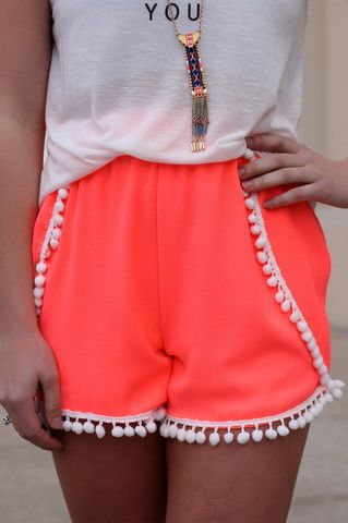 Neon Coral Pom Pom Shorts | UOIOnline.com: Women's Clothing Boutique
