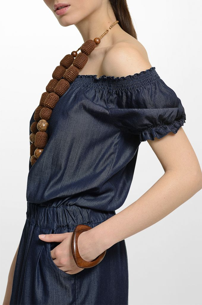 Sarah Lawrence - denim strapless dress.
