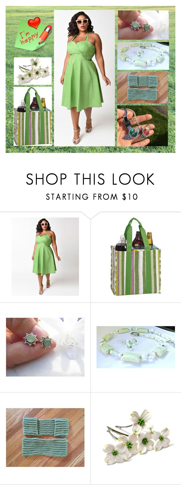 """""""Green happyness"""" by blingauto ❤ liked on Polyvore featuring Picnic Plus and plus size dresses"""
