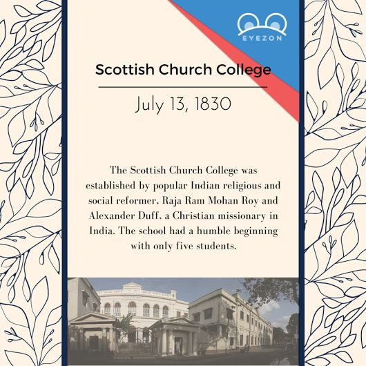 Located in #Kolkata (then #Calcutta), the #ScottishChurchCollege is one of the oldest colleges for liberal arts and sciences in India. The history of this college dates back to #AlexanderDuff, the first foreign missionary from the Church of #Scotland to India. Duff received tremendous support from Raja Ram Mohan Roy and the institution was established on July 13th 1830. Till today, the Scottish Church College remains one of the most popular institutes for higher education.