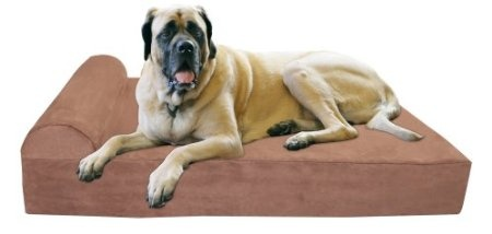 """Amazon.com: Big Barker 7"""" Pillow Top Orthopedic Dog Bed - XL Size - 52 X 36 X 7 - Chocolate - For Large and Extra Large Breed Dogs (Headrest Edition): Pet Supplies"""