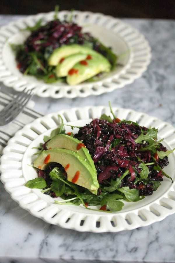 This braised red cabbage recipe has a spicy, Asian flair. It is great as a healthy summer slaw or salad tossed together w/ black rice, arugula, and avocado.