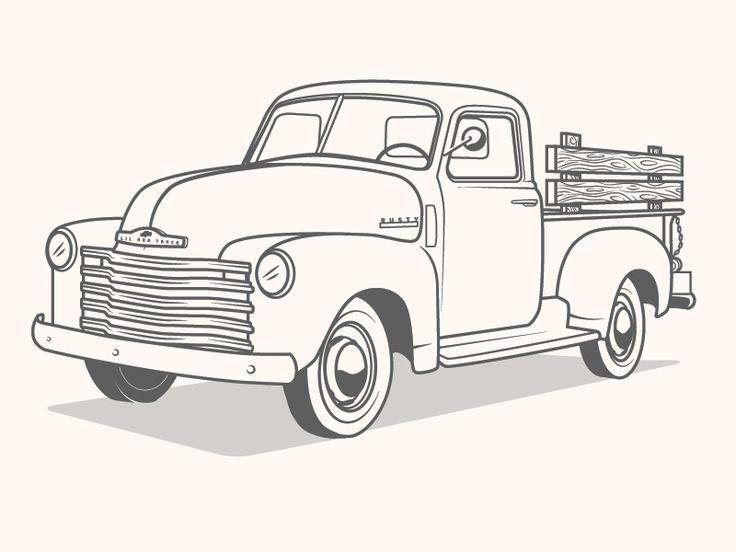 Truck Illustration Chevy Boyama Sayfalari Desenler