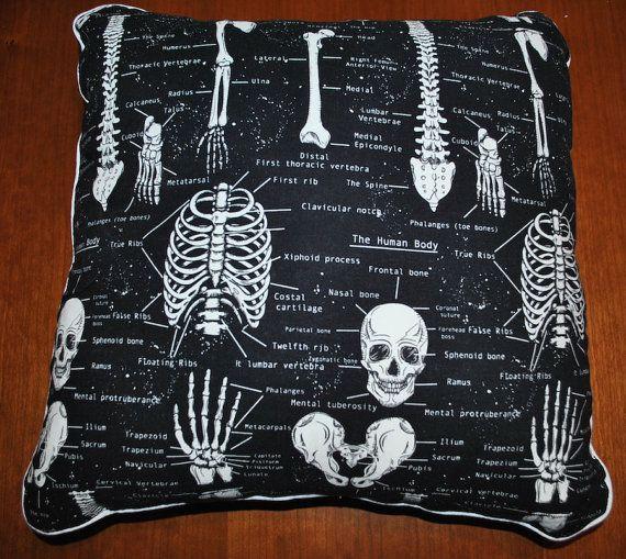 "Human Skeletal Anatomy 16"" x 16"" Throw Pillow (Osteology, Forensic Anthropology)"