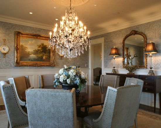 Love dining room wainscoting wallpaper above ceiling for Traditional dining room wallpaper