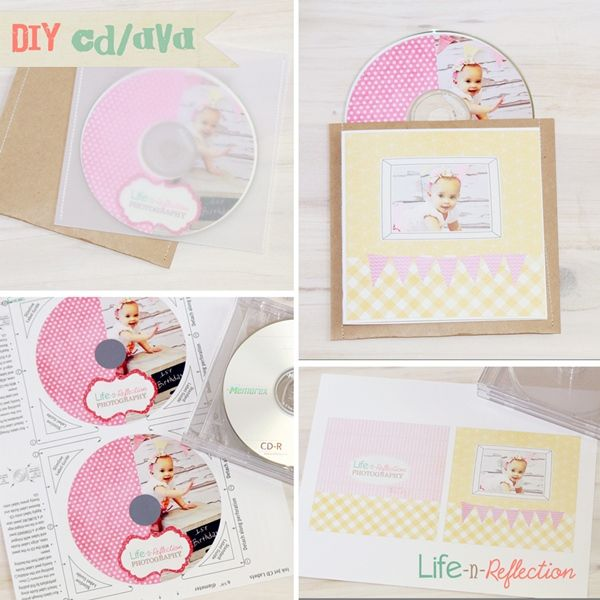 DIY CD DVD Label and Cover Photoshop Templates - She simply sewed paper to make pocket...hmmmm.