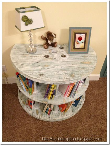 Cable spool bookcase, cut and against the wall flush! No way!! Different color stain and you can count me in!!