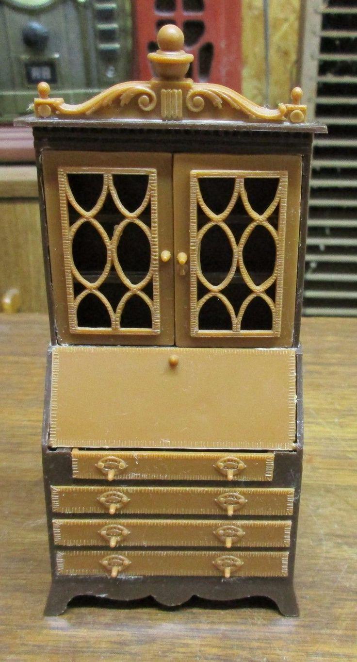 RARE Beautiful Secretary Vintage Mini Dollhouse Furniture Renwal 1:16  Plastic | EBay