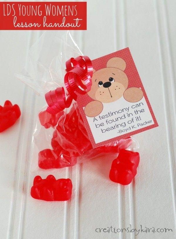 LDS YW Bearing Testimony Handout -so cute! Could also work with gummy bears or teddy grahams.