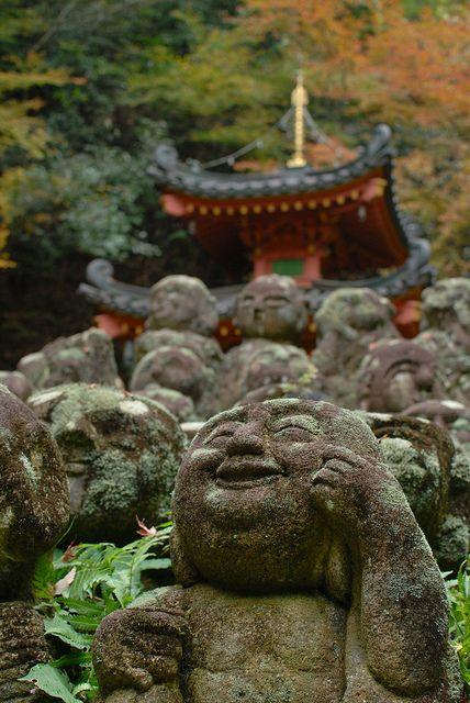 Stone sculptures of Rakan, Otagi Nenbutsu-ji, Kyoto #buddha #buddhism #buddhist #sculpture #statue #art