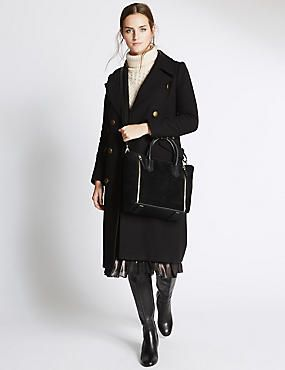 Leather Double Zipped Tote Bag