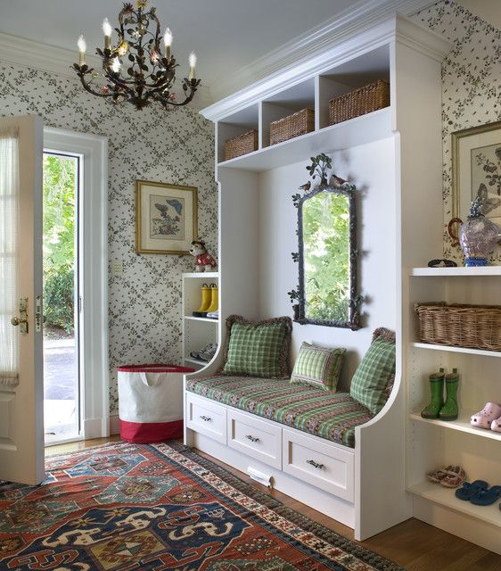 Entryway Hall Tree Entry Traditional with Chandelier Decorative Mirror Floral Wallpaper Hall Light Wood Floor