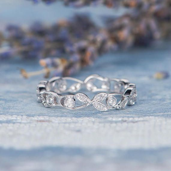 Unique Twig Ring Antique Leaf Flower Band Vine Diamond Hollow Eternity Wedding Band Women Anniversary Birthday Promise Bezel Set Cluster ♥ Ring Mounting: 14K White Gold ♥ Band Width about 3.6mm ♥ Accent Stones: Diamond Weight: approx. 0.14ctw (in total). * Gemstones replacement are
