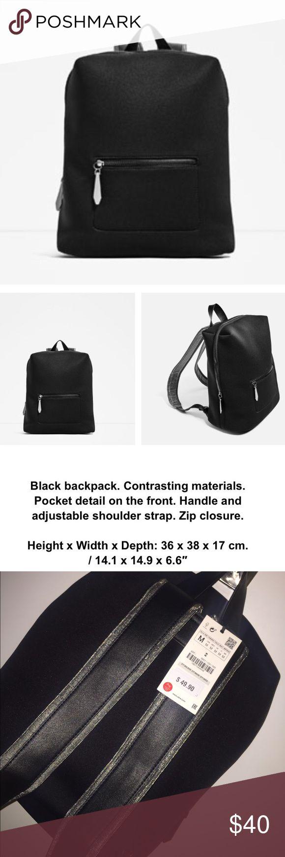 ZARA Backpack Black Zara backpack with grey metallic straps. Zara Bags Backpacks