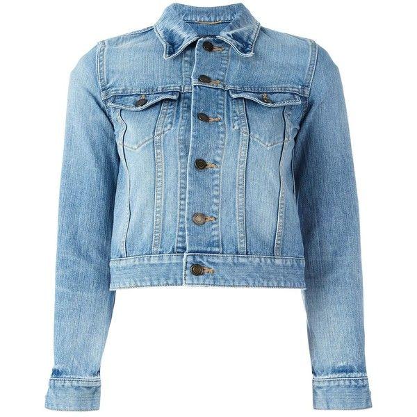 Saint Laurent Love Patch Cropped Denim Jacket found on Polyvore featuring outerwear, jackets, good jeans, kirna zabete, kzloves, denim jacket, yves saint laurent jacket, cotton jacket, blue cropped jacket and cropped jacket