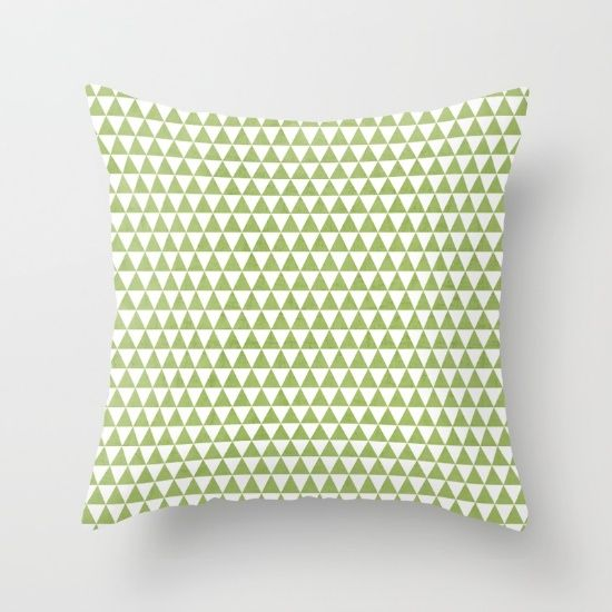 triangles green and white throw pillow