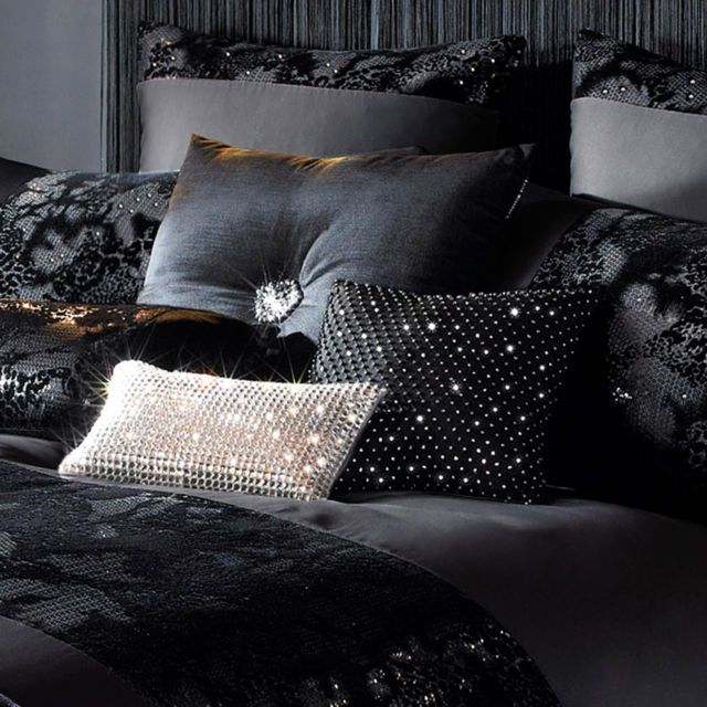 kylie minogue at home valaza black sequin animal panel duvet quilt cover bedding