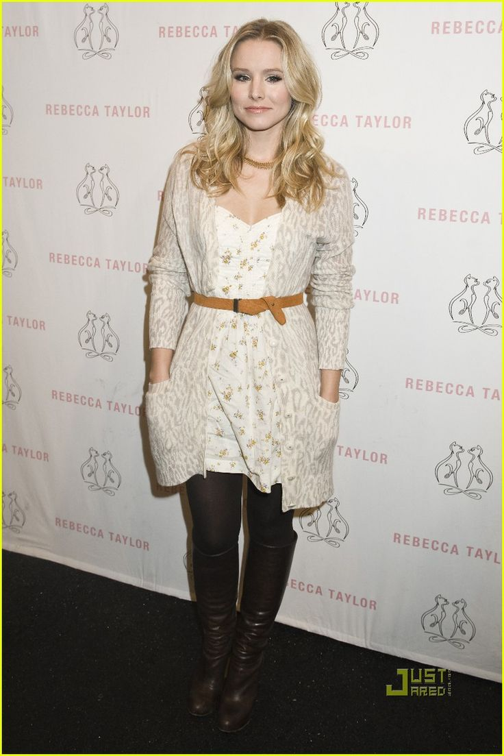 Kristen Bell,style, belted floral dress, knee high boots