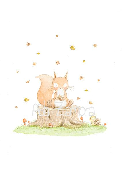 "Baby print ""SQUIRREL"" Baby gift, nursery print, bunny print, baby decoration, nursery decoration by Aida Zamora"