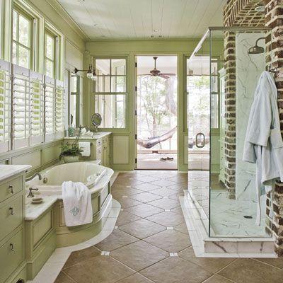 LOVE this bathroom with a connected screened sleeping porch and hammock!Bathroom Design, Exposed Bricks, Bricks Wall, Dreams Bathroom, Green Bathroom, Shower, Master Baths, Expo Bricks, Master Bathroom