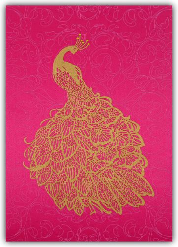 A most intricate peacock theme invitation has just the right touch of grace, card fascinate by image of peacock on the center and same follows on envelope too. It adorn with light art work on front background, comes with matching envelope and inserts. It's a fabric fantasy.