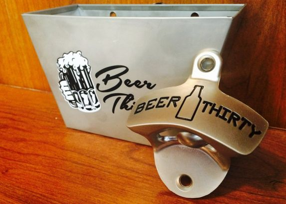 The Perfect Father's Day Gift In Stock: $17.38 - Beer Thirty Wall Mounted Bottle Opener & Matching Stainless Steel Cap Catcher